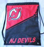 New Jersey Devils Drawstring Backpack, Diagonal Zip